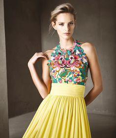 f829bb5e20 CISCA - Vestido de fiesta primaverral multicolor. Trajes FemininosFotos De VestidosVestidos  Amarillos De NocheVestidos ...
