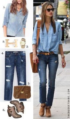Alessandra Ambrosio rocks double denim as only a model-off-duty can, expertly accessorizing her laid-back look with an Hermes belt, Rag & Bone 'Harrow' booties and oversized shades. Recreate the look