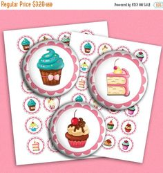 В продаже симпатичные кексы круглые изображения 1.313 дюйма, 1.5 дюйма, 1 дюйм для бутылочных крышек, кнопок Кулон изображения цифровой коллаж лист