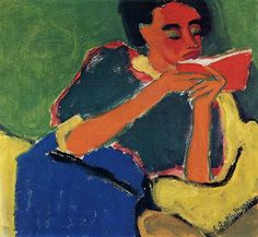 ✉ Biblio Beauties ✉ paintings of women reading letters & books - Karl Schmidt-Rottluff | Reading, 1912