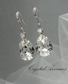 rubies.work/ Crystal Bridal earrings  Wedding jewelry by CrystalAvenues on Et