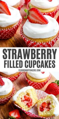 How to make strawberry filled cupcakes with vanilla cupcakes and a fresh strawberry filling. Easy recipe, topped with a homemade whipped cream frosting. Strawberry Filled Cupcakes, Strawberry Filling, Strawberry Desserts, Easy Cupcake Recipes, Easy No Bake Desserts, Delicious Desserts, Easy Recipes, Vegan Recipes, Whipped Cream Frosting