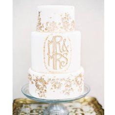 We're swooning over @brides 50 Most Beautiful Wedding Cakes especially this gold #artnouveau style lettering! #brides #swoonworthy #weddingcake #customweddingcake #wedding #custommonogram #weddingmonogram #goldwedding #artnouveauwedding #weddingdetails #dmeventsny #weddingbestof #bestof @melinaschwabinger @dmgoldsmith