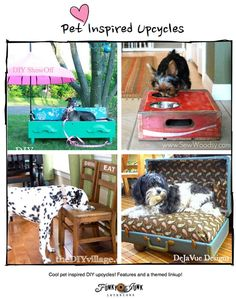 Pet Inspired Upcycles - from old junk to cool pet accessories you can make yourself! Features and a themed link party that never closes, via Funky Junk Interiors.