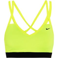 Nike Nike - Pro Indy Stretch-jersey Sports Bra - Yellow ($24) ❤ liked on Polyvore featuring activewear, sports bras, bras, sportswear, nike, shirts, sport, green shirt, slim shirt and sports shirts