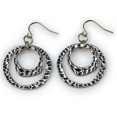 "The Nile Collection ~ MYRA ~ ""Double antique silver hoops are textured and polished for an exotic look that pairs well with several necklaces from the fierce Cleopatra to the simpler Isis. Jewelry Box, Jewelery, Jewelry Accessories, Jewelry Gifts, Boot Bling, Karen, Silver Hoops, Beautiful Earrings, Antique Silver"
