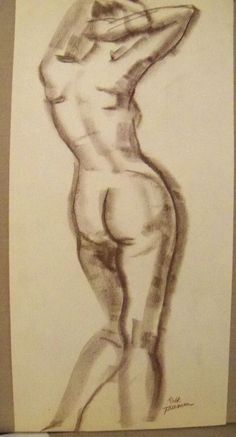 """ FEMALE NUDE"" by Ruth Freeman CONTE/PASTEL 11"" X 23"" #Realism"