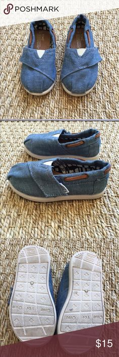 Toms Denim Toddler Shoes Worn only a few times. Like new condition. Minor wear on soles as shown. Toms Shoes