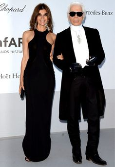 Carine Roitfeld in Givenchy with Karl Lagerfeld