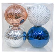 4ct Large Winter Mountain Christmas Shatterproof Christmas Ornament Set - Wondershop™
