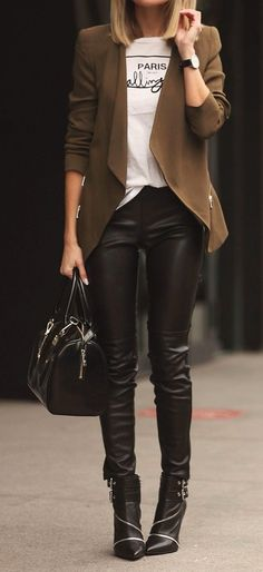 Women's Black Embellished Leather Ankle Boots, Black Leather Satchel Bag, Black Leather Skinny Pants, Brown Open Cardigan, White and Black Print Crew-neck T-shirt, and Black Watch