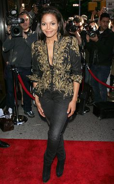 Janet Jackson- with a little tank top under this jacket it would be more modest and totally cute!!!