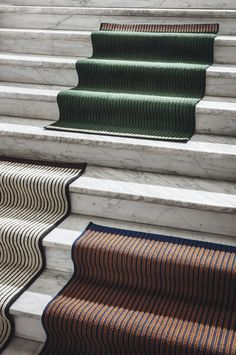 Danish designer and brand owner Louise Roe makes series of braided rugs Contemporary Rugs, Modern Rugs, Three Color Combinations, Interior Design Process, Fabric Rug, Braided Rugs, Stair Railing, Green Rose, Carpet Design