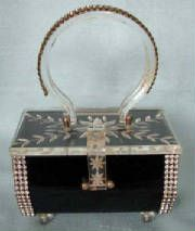 50's Kahn Black Lucite/Rhinestone Box Purse
