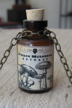 Mushroom Extract Potion Poison Bottle Necklace Pendant Apothecary