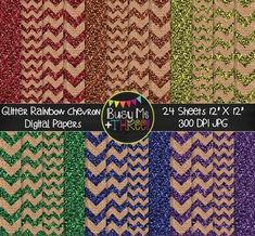 """Included in this GLITTER Rainbow Chevron Burlap Digital Paper set is 24 papers. These are great for any digital product, party invitation, card, craft, scrapbook page, and more! Product Description: Size: 12""""x12"""" File Format: 300 DPI JPG images Be sure to check out my other DIGITAL PAPERS! If you love these digital papers, you may be interested in my LIFETIME DIGITAL PAPER..."""