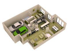 casa pequena de 1 quarto e garagem 3d home designhome. Interior Design Ideas. Home Design Ideas