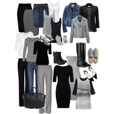 For Travel: Gray & Black & White. Just add pops of color with jewelry, scarves, and sweaters.