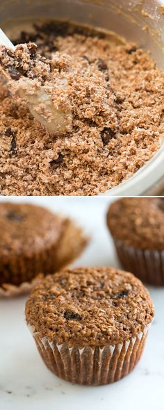 Delicious and Easy Bran Muffins with Raisins on inspiredtaste.net - These tasty and moist bran muffins are packed with wheat bran, plump raisins and applesauce | @inspiredtaste