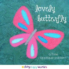 Celebrate summer with this free butterfly applique pattern! It& easy applique - great for beginners - with links to video tutorials teaching you all the skills you& need. Applique Monogram, Hand Applique, Machine Applique, Applique Quilts, Embroidery Applique, Embroidery Thread, Machine Embroidery, Felt Patterns, Sewing Patterns Free