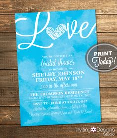 Watercolor Bridal Shower Invitation, Love, Art, Blue, Turquoise, Retro, Printable File (Custom Order, INSTANT PROOF) by InvitingDesignStudio on Etsy