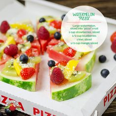 "Goodbye sliced watermelon, hello delicious summer recipes! Make Watermelon ""Pizza"" with strawberries, blueberries, kiwi and mango!"