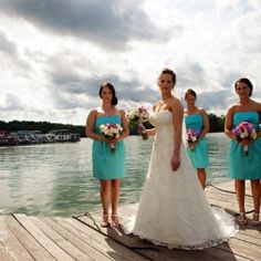 This turquoise and purple color palette is perfect for this marina wedding at Norris Lake! by KB Photography