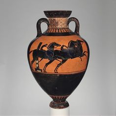 Attributed to the Leagros Group. Terracotta Panathenaic prize amphora (jar), ca. 510 B.C.  The Metropolitan Museum of Art, New York. Rogers Fund, 1907 (07.286.80).