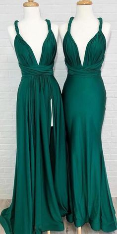 7aee1a61eb2 Convertible Teal Green Side Slit Cheap Long Bridesmaid Dresses