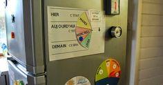 """Espace """"temps""""... sur la porte du réfrigérateur. :-) Mes enfants sont dans la phase dite """" représentative """" de la structuration du te... Autism Activities, Infant Activities, Activities For Kids, French Basics, Montessori Preschool, Pediatric Ot, Family Organizer, School Programs, Baby Development"""