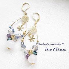 【再販】スノードロップ~雪色天然石のティアーズピアス~ Resin Jewelry, Stone Jewelry, Crystal Jewelry, Beaded Jewelry, Handmade Jewelry, Jewellery, Unique Earrings, Bead Earrings, Jewelry Stores