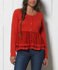 Another great find on #zulily! Red Quilted Peplum Button-Up Top - Women by Coline USA #zulilyfinds