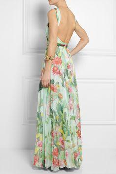 Matthew Williamson | Cactus Garden printed silk-chiffon gown | NET-A-PORTER.COM
