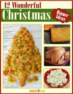 12 Wonderful Christmas Dinner Menu Ideas - The Christmas tree-shaped bread and lasagna are my favorite.