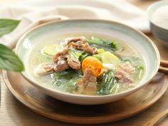Mustard Green with Pork and Salted Egg Soup