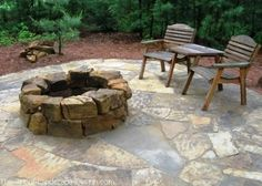 Like the natural, non-perfection of this stone fire pit. More perspectives and ideas on the web page.