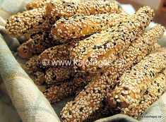 When in Greece, you will see Kritsinia in many places/spots as you sight-see, travel through the city or to the countryside. Kritsinia are bread sticks that often covered in sesame seeds or with an… Snack Recipes, Cooking Recipes, Healthy Recipes, Snacks, Meatless Recipes, Healthy Meals, Greek Bread, Bread And Pastries, Pastry Recipes