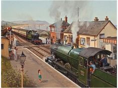 """Crossing at Blue AnchorCrossing at Blue Anchor - """"Crossing at Blue Anchor"""" A lovely summers day on the West Somerset Railway is portrayed again through the paint brush of our resident artist Robin Pinnock.Crossing at Blue Anchor - """"Crossing Diesel Locomotive, Steam Locomotive, Train Pictures, Art Pictures, Transport Pictures, Railroad History, Steam Railway, Train Art, Railway Posters"""