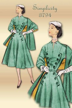 Beautiful vintage Simplicity sewing pattern 3794  That neckline and button trims omg!  #patternpatter