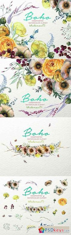 Boho Watercolor Floral Clipart F-49 964081
