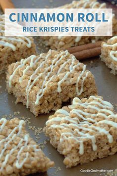This recipe for Cinnamon Roll Rice Krispies Treats® combines two of your kids. - This recipe for Cinnamon Roll Rice Krispies Treats® combines two of your kids' favorite sweet cr - Rice Krispy Treats Recipe, Rice Crispy Treats, Recipes With Rice Krispies Cereal, Halloween Rice Krispy Treats, Rice Krispies Treats, Pumpkin Rice Krispie Treats, Köstliche Desserts, Delicious Desserts, Dessert Recipes