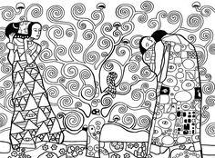 Anti Stress Coloring Pages Gustav Klimt Gustav Klimt, Art Klimt, Colouring Pages, Adult Coloring Pages, Coloring Books, Famous Art, Art Plastique, Teaching Art, Tree Of Life