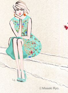 Oscar de la Renta 2014 | Illustration by Masaki Ryo