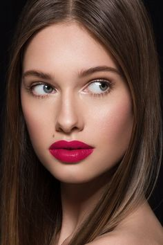 What If satin cool-toned fuchsia Lux Lipstick on model Makeup Tips, Beauty Makeup, Eye Makeup, Makeup Ideas, Lip Gloss Homemade, Skin Moles, Skin Growths, Beauty Hacks Video, Makeup Designs