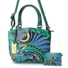 ca9341625bf Anuschka Hand-Painted Leather Zip Top Dual Compartment Satchel w  Strap