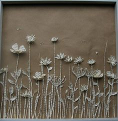 new meadow shadow box made from the pages of an old, Dutch book. paper diorama
