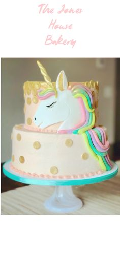 Unicorn Cake - I just love working on little girl birthday cakes! I could make a thousand unicorn cakes and never be bored with this cake decorating design. I used fondant to make the polka dots and a airbrush machine to add the gold shimmer effect. Everything is better in buttercream!