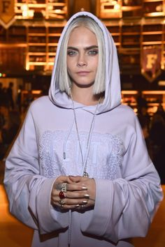 Cara Delevigne attends FENTY PUMA by Rihanna Fall / Winter 2017 Collection at Bibliotheque Nationale de France on March 6, 2017 in Paris, France.