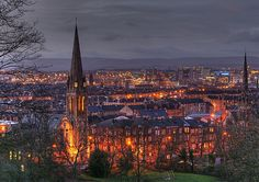 Glasgow, Scotland - view from Queen's Park, beautiful shot taken at night