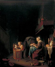 Fuente: Aquí Woman Making Lace with Two Children Autor: Pieter van Slingelandt Bobbin Lacemaking, Lace Painting, Lace Art, Renaissance Architecture, Web Gallery, Antique Pictures, Crafts With Pictures, Art Uk, Lace Making